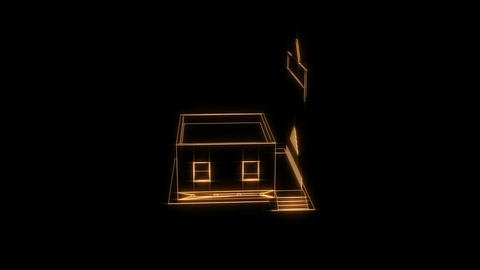 3D build structure, house visualization, build visualization, house assembling, time-lapse 3d video Animation
