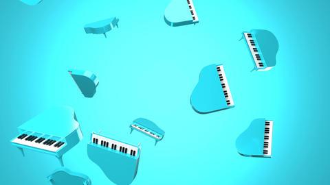 Falling blue pianos on blue background Animation