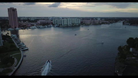 Scenic view hotels along intracoastal in South Florida Live Action