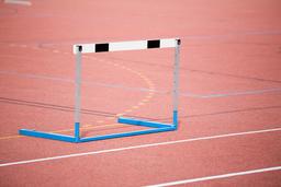 Hurdle on sports field フォト