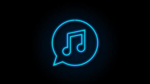 Music icon in flat style. Music, voice, record icon. Motion graphics Animation