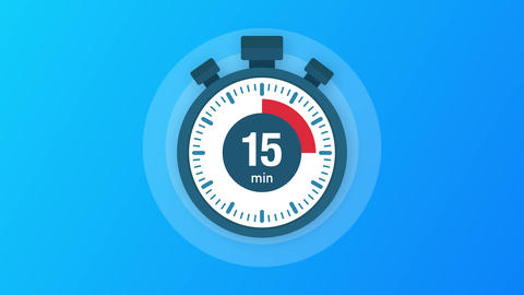 The 15 minutes, stopwatch icon. Stopwatch icon in flat style, timer on on color Animation