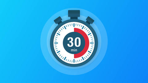 The 30 minutes, stopwatch icon. Stopwatch icon in flat style, timer on on color Animation
