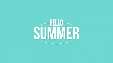 Animated text Hello Summer with gradient summer background Animation