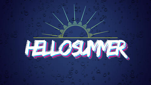 Animated text Hello Summer with sun rays, purple summer background Animation