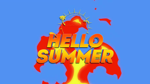 Animated text Hello Summer with sun rays, palm and hot fire, summer background Animation
