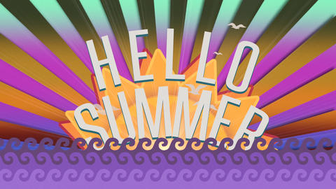 Animated text Hello Summer with sea waves and sun rays, purple summer background Animation