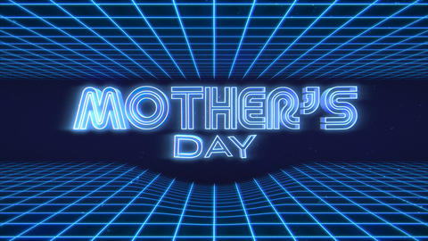 Animation text Mother Day and retro abstract neon blue grid on retro background in 90 style Animation
