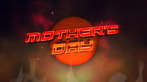 Animation text Mother Day and red disco ball and fire on retro background in 90 style Animation