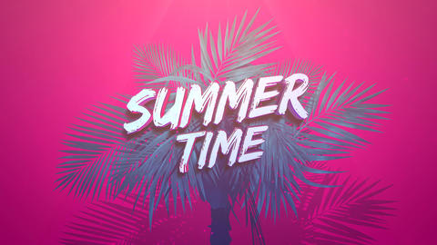 Animated text Summer Time and closeup tropical tree on pink summer background Animation