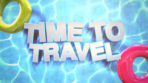 Animated text Time to Travel with swimming circles, blue summer background Animation