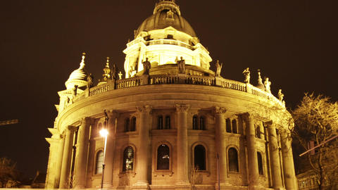Basilica Budapest Hungary at Night 2 Footage