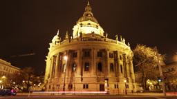 Basilica Budapest Hungary at Night 2 Stock Video Footage