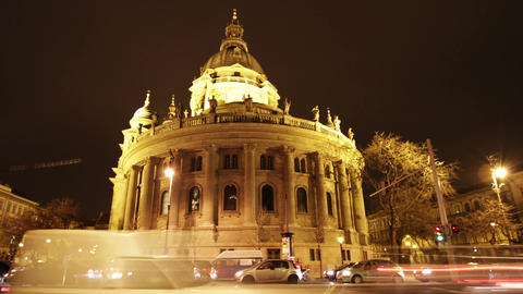 Basilica Budapest Hungary at Night 4 Stock Video Footage