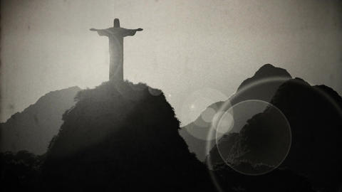 Corcovado Sunset 4 vintage Stock Video Footage