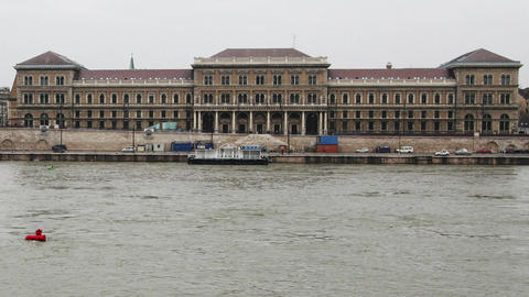 Corvinus University River Danube Winter Budapest Hungary... Stock Video Footage