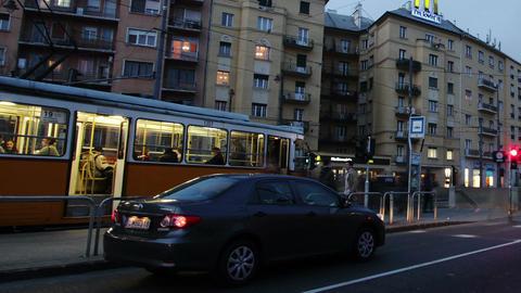 Getting Dark Budapest Hungary Winter Timelapse 8 pan Stock Video Footage