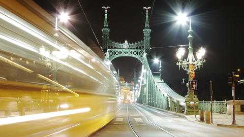 Liberty Bridge at Night Budapest Hungary Timelapse 1 Footage