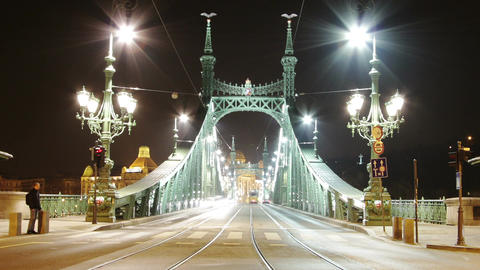 Liberty Bridge at Night Budapest Hungary Timelapse 1 Stock Video Footage