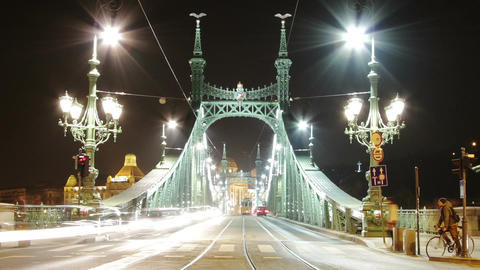 Liberty Bridge at Night Budapest Hungary Timelapse 3 zoom Stock Video Footage