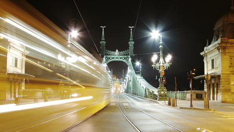 Liberty Bridge at Night Budapest Hungary Timelapse 3 zoom Footage