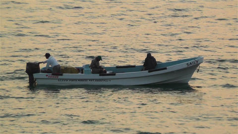 Mexican Fisherman in the Sunrise 1 Stock Video Footage