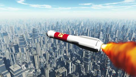 Nuclear Rocket Hits Metropolis 1 Stock Video Footage