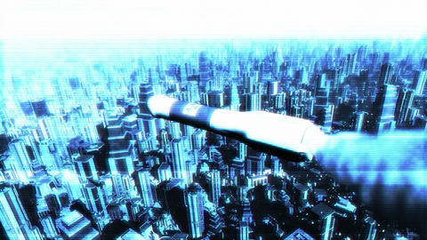 Nuclear Rocket Hits Metropolis 3 Stock Video Footage