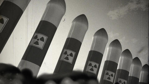 Nuclear Rockets Launch 6 vintage Stock Video Footage