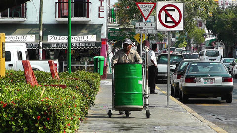 Oaxaca Crucecita Town Mexico 12 thrash man Stock Video Footage