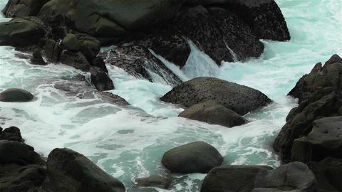 Ocean Waves on Rocky Coast 1 Footage