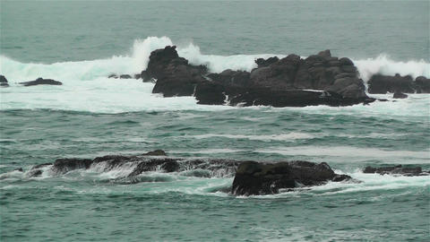 Ocean Waves on Rocky Coast 3 Stock Video Footage