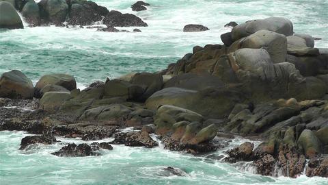 Ocean Waves on Rocky Coast 5 Stock Video Footage