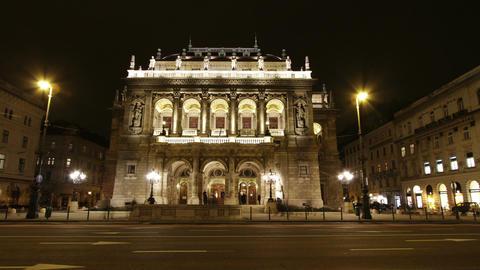 Opera Budapest Hungary at Night 1 Stock Video Footage