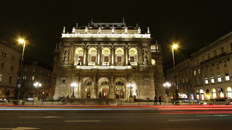 Opera Budapest Hungary at Night 1 Footage