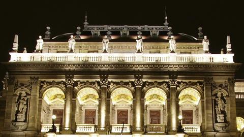 Opera Budapest Hungary at Night 3 Stock Video Footage