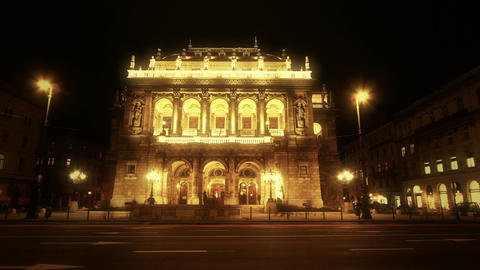 Opera Budapest Hungary at Night 5 Stock Video Footage