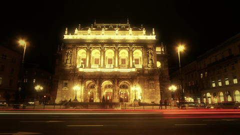 Opera Budapest Hungary at Night 5 Footage