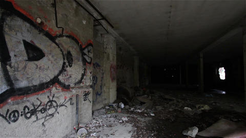Scary Abandoned Building 5 pan right Stock Video Footage