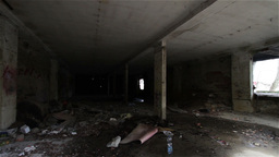 Scary Abandoned Building 5 pan right Footage