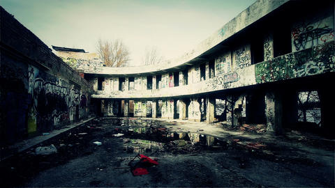 Scary Abandoned Building 6 pan right v 2 Stock Video Footage