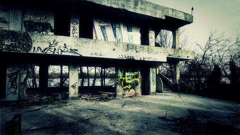 Scary Abandoned Building 7 pan left v 2 Stock Video Footage