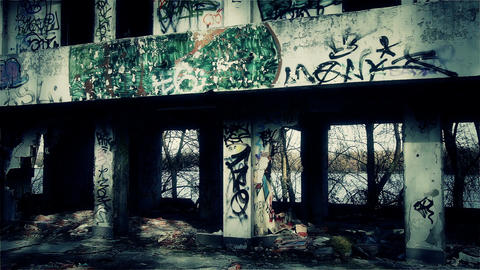 Scary Abandoned Building 9 pan left v 2 Stock Video Footage