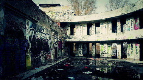 Scary Abandoned Building 10 pan right v 2 Stock Video Footage
