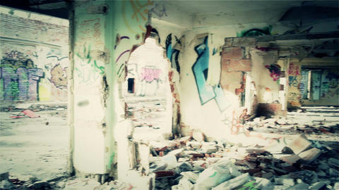 Scary Abandoned Building 11 pan right left v 2 Stock Video Footage