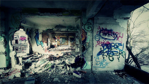 Scary Abandoned Building 13 pan left v 2 Stock Video Footage