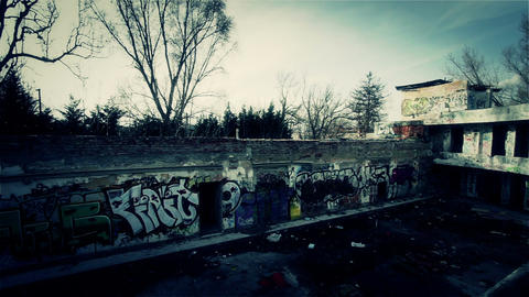 Scary Abandoned Building 14 pan left v 2 Stock Video Footage