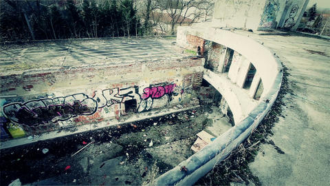 Scary Abandoned Building 15 pan right v2 Stock Video Footage