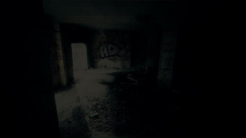 Scary Abandoned Building 19 pan right v 2 Stock Video Footage