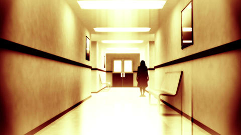 Scary Hospital Corridor 6 yurei Stock Video Footage